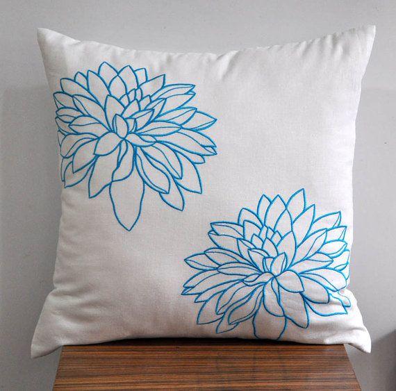 Blue white pillow cover flower on linen