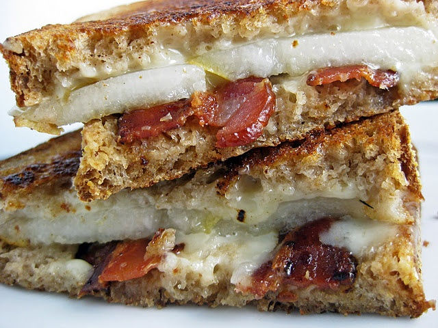 Bacon and Pear Grilled Cheese Sandwich - INGREDIENTS whole wheat bread ...