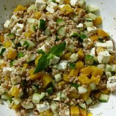 Farro With Cucumbers, Golden Beets, Feta And Mint Vinaigrette (via www ...