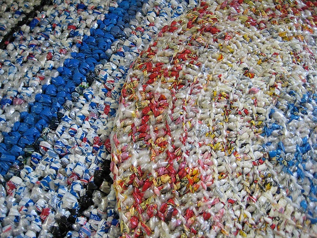 Rugs made out of old bread bags.