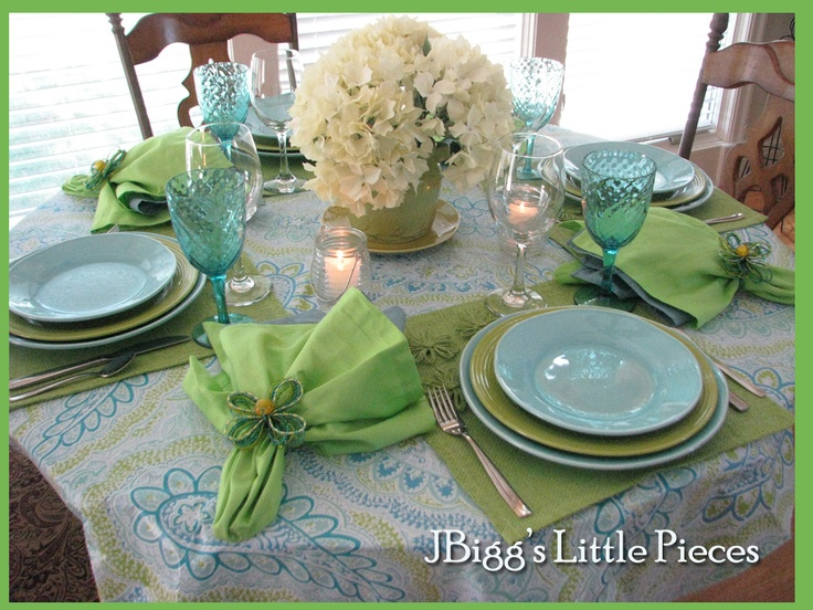 Beautiful Tablescape Of Aqua And Lime Gender Neutral