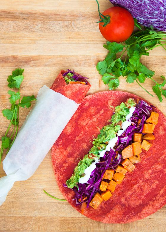 Roasted sweet potato, guacamole & shredded cabbage tortilla wraps with ...