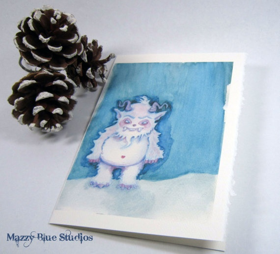 CHRISTMAS CARDS Yeti abominable snowman Holiday Set of 5 Notecards w ...