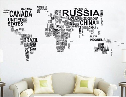Large world map in words removable vinyl wall sticker decal mural art