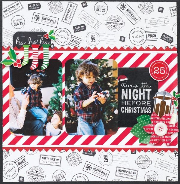 Twas the Night Before Christmas - Scrapbook.com - Made with Pebbles' Home for Christmas collection.
