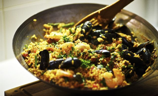 Seafood and Chorizo Paella for an easy impromptu dinner party