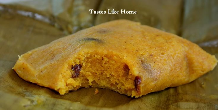 Bajan food conkie made with corn meal and raisins this is steamed in