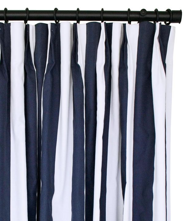 Navy amp white striped custom pinch pleat drapes made by tonic living