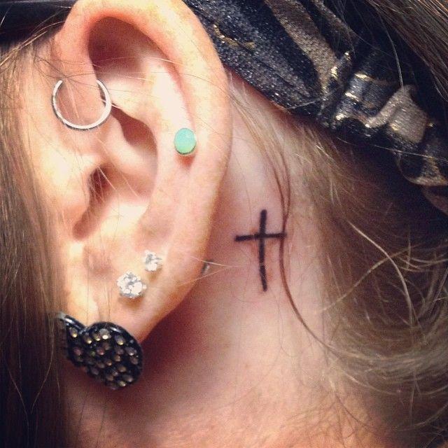 Small Cross Tattoo Behind Ear