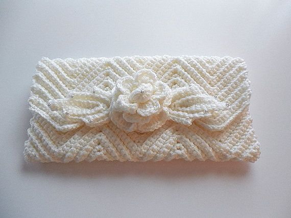 Bride or Bridesmaid Handmade White Crochet Clutch Purse Glass Pearls ...