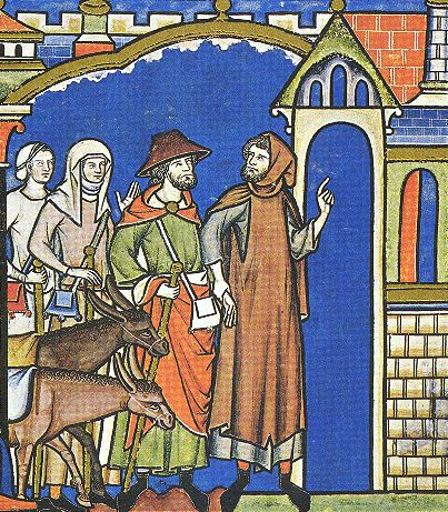 13th century clothing features long, belted tunics with surcoats or mantles in various styles. The man on the right wears a gardcorps, and the one on the left a Jewish hat. Women wear linen headdresses or wimples and veils, c. 1250