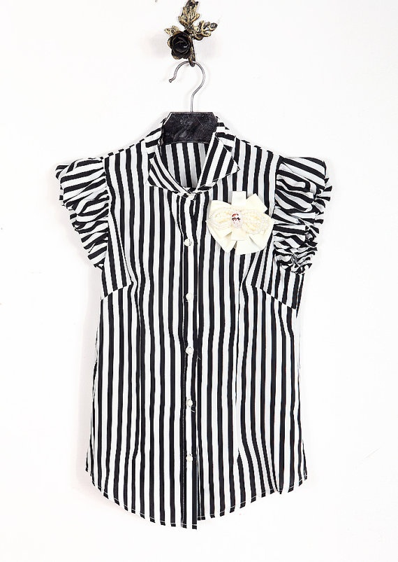 Striped Blouse with Pearl and Ribbon Detail  by JewelsandClothes, $29.50