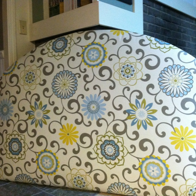 Fabric covered headboard! Love the colors