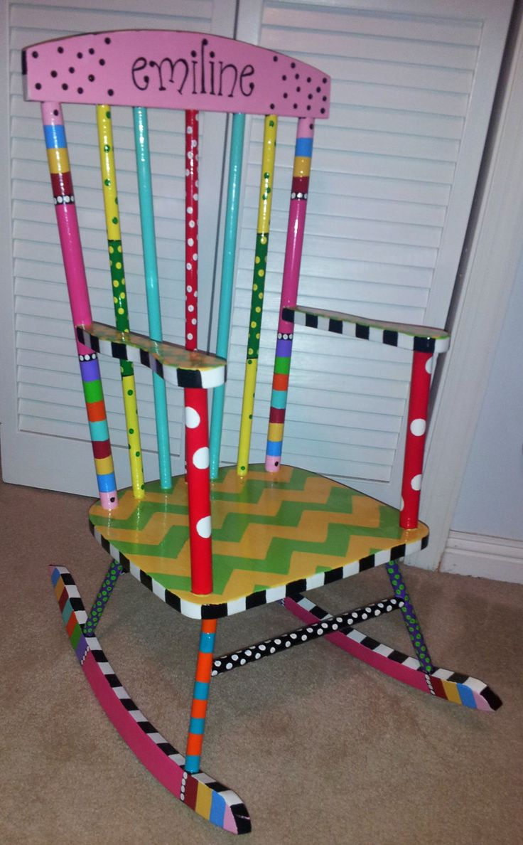 handcrafted and painted child 39 s rocking chair