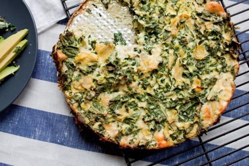 Artichoke, kale, ricotta & parmesan pizza pie.