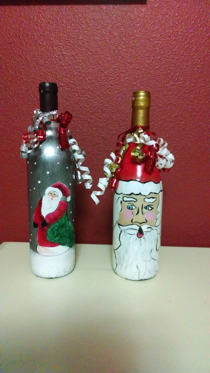 Christmas wine bottles wine bottle decorations pinterest for Christmas bottle decoration ideas