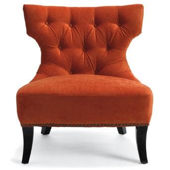 Burnt orange tufted chair fab furniture pinterest for Burnt orange accent chair