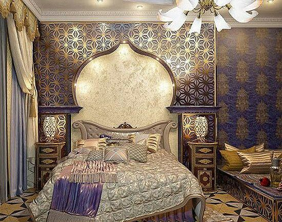 Purple and gold Morrocan bedroom
