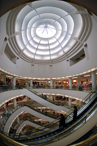 Nordstrom in San Francisco. Curved escalators are the coolest!