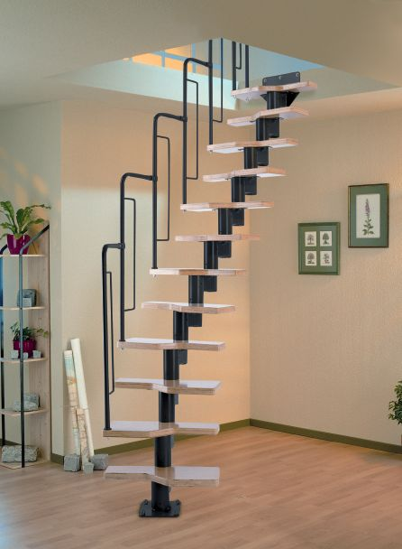 Dolle Graz Space Saving Stair Kit - Black Metal-Work (Loft Stair) -- The Graz is a popular product from the Dolle Staircase range. The design of the metal work for the Graz enables the tread rise and angle to be adjusted. With beech multiplex treads and a painted black metal tubular balustrade, the Graz makes for a stylish stair kit. Unit is complete with 12 treads, suits a floor to floor height up to 2920mm and allows for 90 degree turns to allow for multiple configurations. # £395.00 + VAT