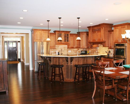 Design Gorgeous Kitchen Traditional Wood Floor Emerald Green Home
