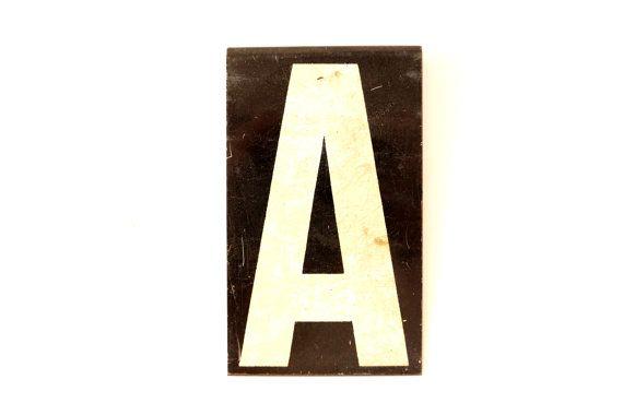 Vintage industrial metal sign letter quotaquot white on black 3 for 3 inch black metal letters