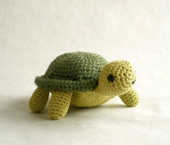 Crocheted Cotton Turtle Plush Toy by MillieFern on Etsy