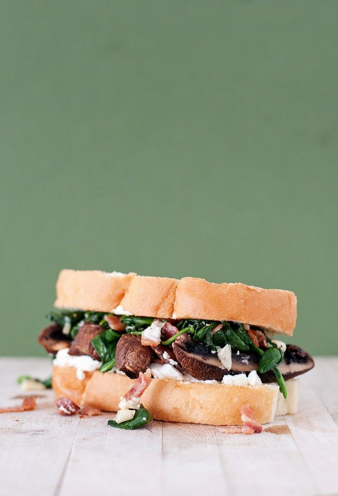 Spinach, Bacon and goat cheese portabella sandwich