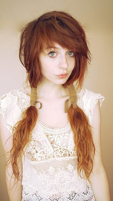 Beautiful Messy Hairstyle : Beautiful messy red hair in ponytails