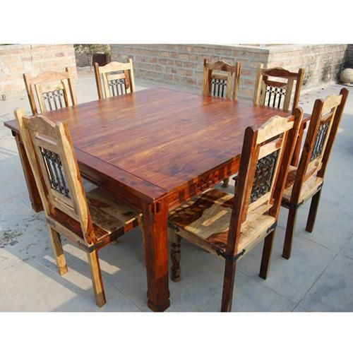 Dallas ranch transitional 8 seater 64 square wood dining for Dining room table 8 seater