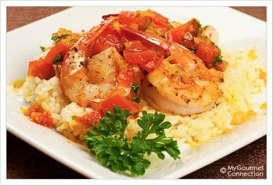 Pan-Seared Shrimp with Saffron-Tomato Sauce | Recipe