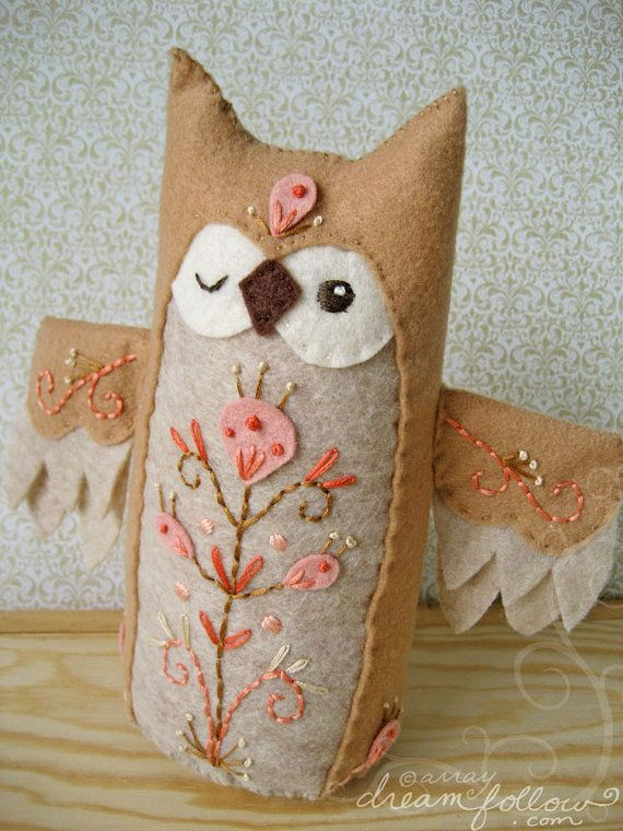 Owls with embroidery