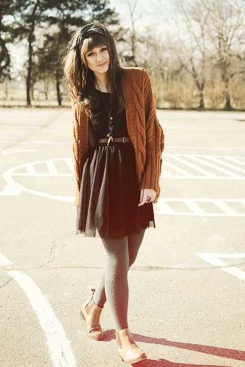 grey tights + brown cardigan & boots