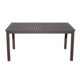 In X Brown Aluminum Frame Rectangle Patio Dining Table 286