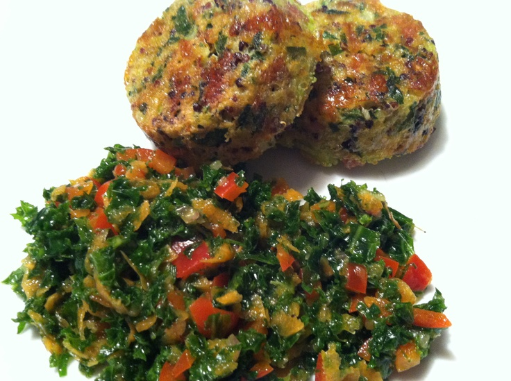 Quinoa cakes and chopped kale salad | Healthy Recipes | Pinterest