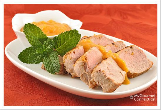 Grilled Pork with Bourbon-Peach Barbecue Sauce: Butterflied pork ...