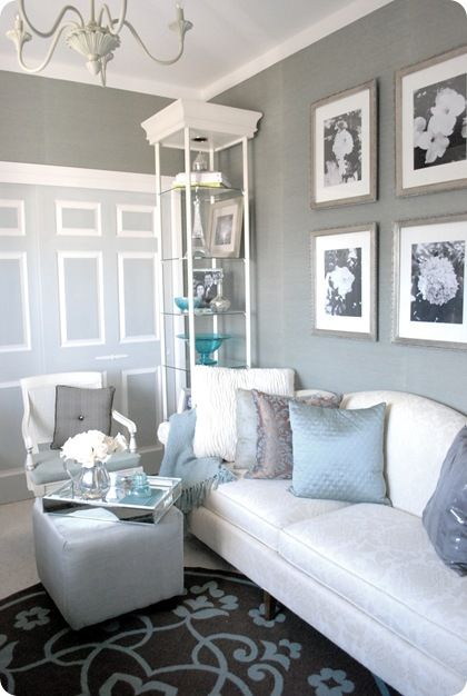 Grasscloth wallpaper in a glam home office.