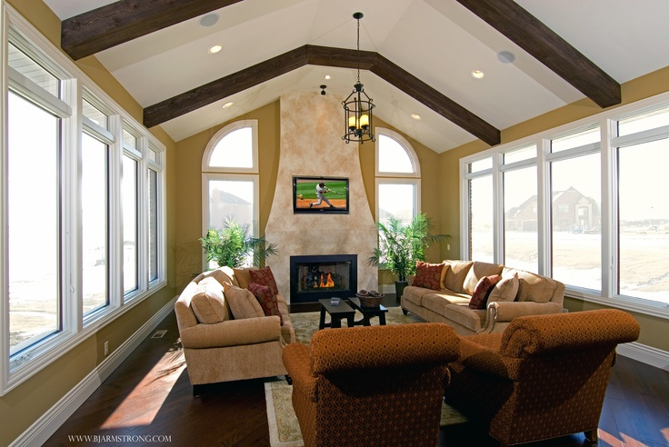 Sunroom With Fireplace And Wood Beams Dream Home Pinterest