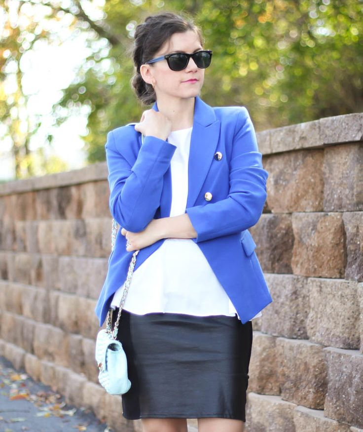 Cobalt Blazer & leather skirt