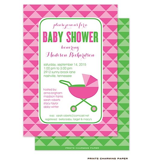 girl this stylish baby shower invitation features bright colors and a