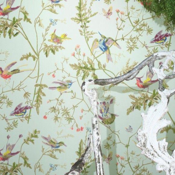 Papier peint vert motif d 39 oiseaux hummingbirds cole and son - Papier peint oiseaux ...