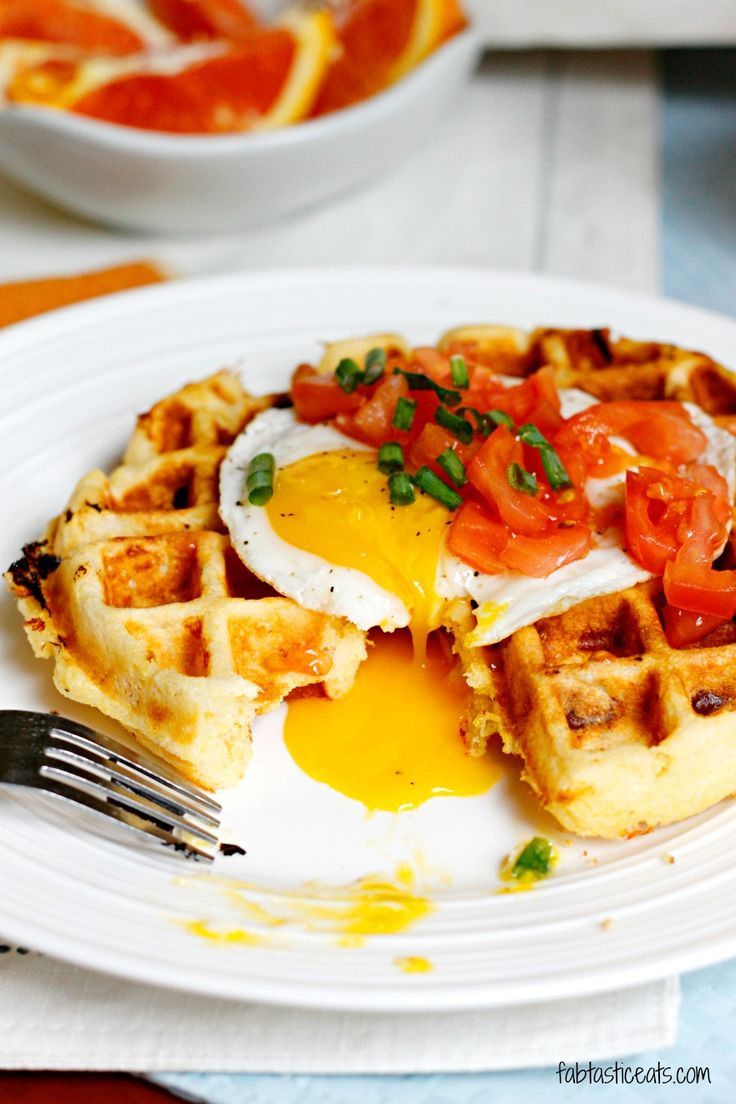 Cheddar Cornmeal Waffles with Eggs | Breakfast | Pinterest