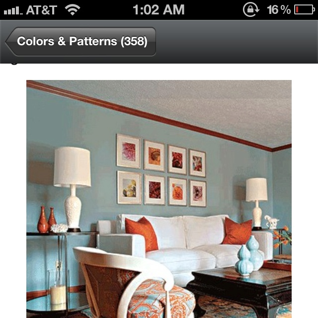Color Scheme Terra Cota Sea Blue For Living Room From Houzz Ideas Things Pinterest