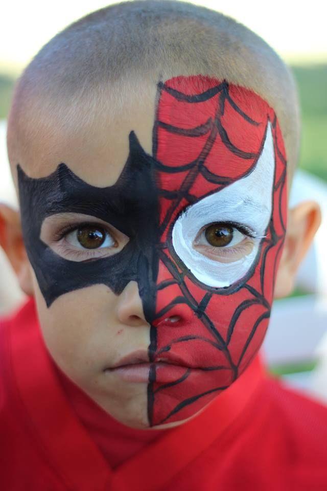 Batman-Spiderman | Face-Body Painting Ideas | Pinterest