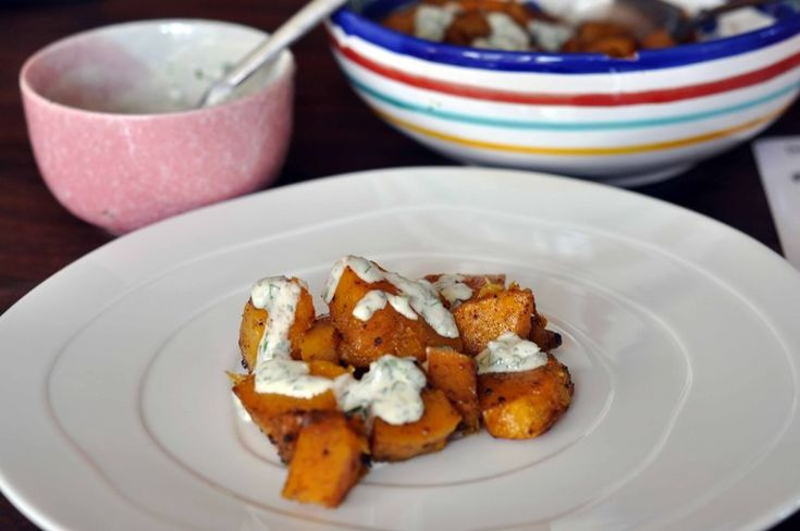 Cardamom Roasted Butternut Squash with Lime-Yogurt Drizzle