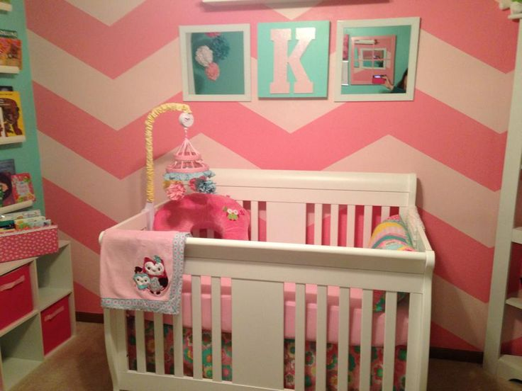 Pink Chevron Accent Wall for the Nursery - #chevron #nursery