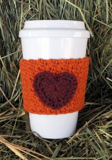 Crochet Heart Coffee Cozy Pumpkin Orange by TheEnchantedLadybug, $10 ...