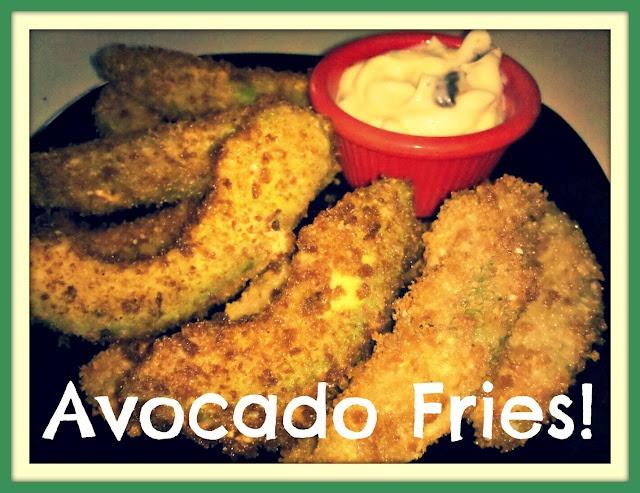 Avocado fries with roasted garlic jalapeno aioli! Ridiculous.