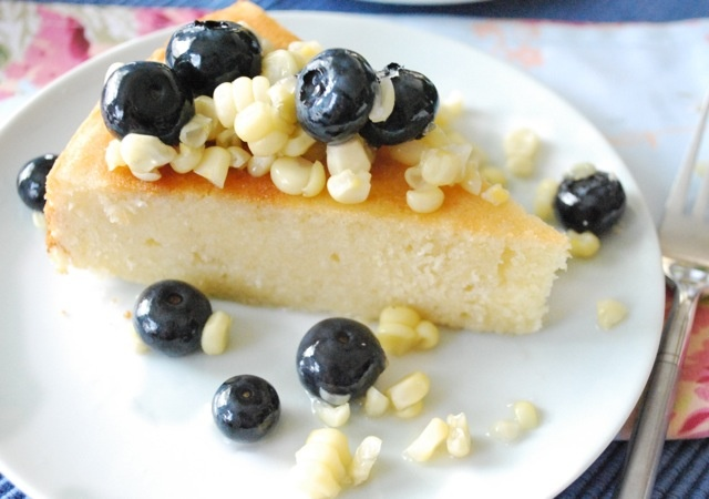 Seasonal Potluck: Sweet Corn Cake with Blueberry Lavender Compote