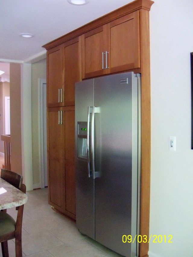 Recessed fridge kitchen remodel ideas pinterest for Kitchen remodel refrigerator